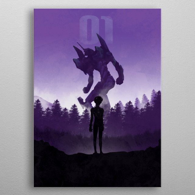 Illustration of the Eva01 with Shinji Ikari metal poster