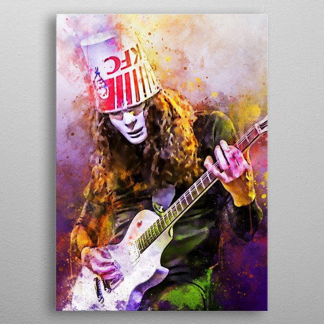Buckethead is the nickname of Brian Patrick Caroll, a member of the group Guns N 'Roses, an American music group metal poster