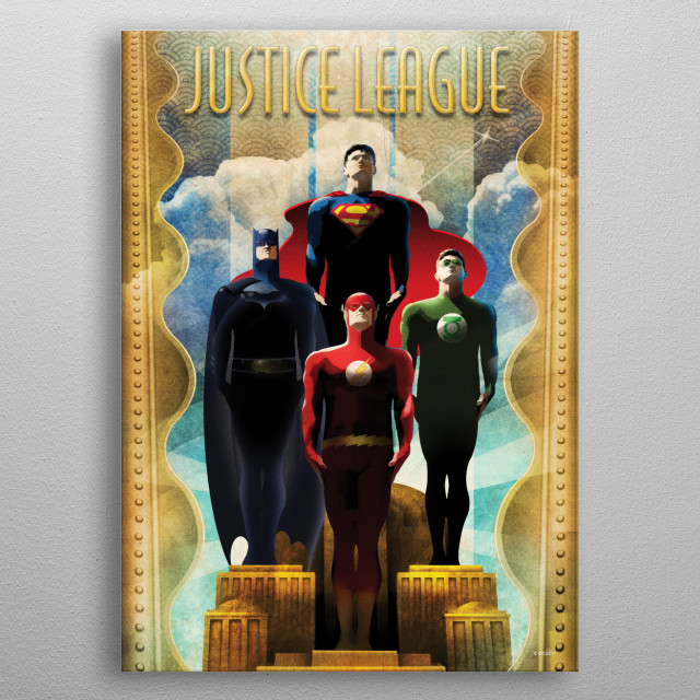 High-quality metal print from amazing Justice League Retro collection will bring unique style to your space and will show off your personality. metal poster