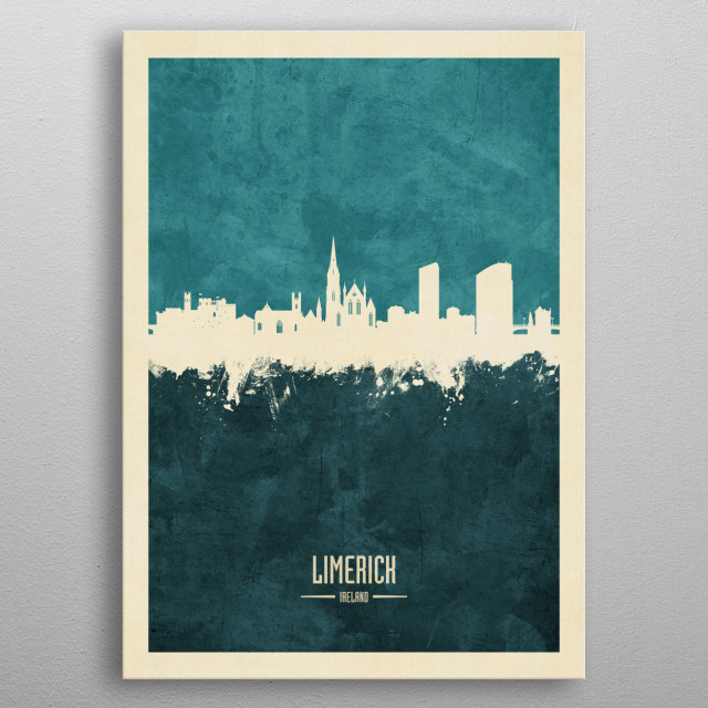 Watercolor art print of the skyline of Limerick, Ireland metal poster