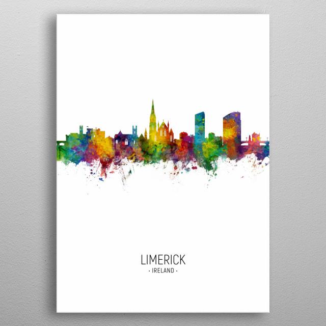 Watercolor art print of the skyline of Limerick, Ireland metal poster