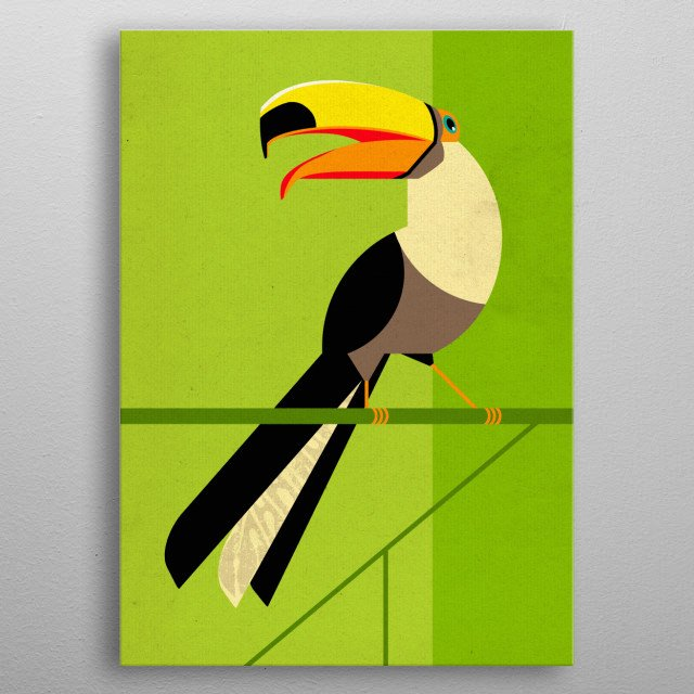 Illustration of a toucan. metal poster