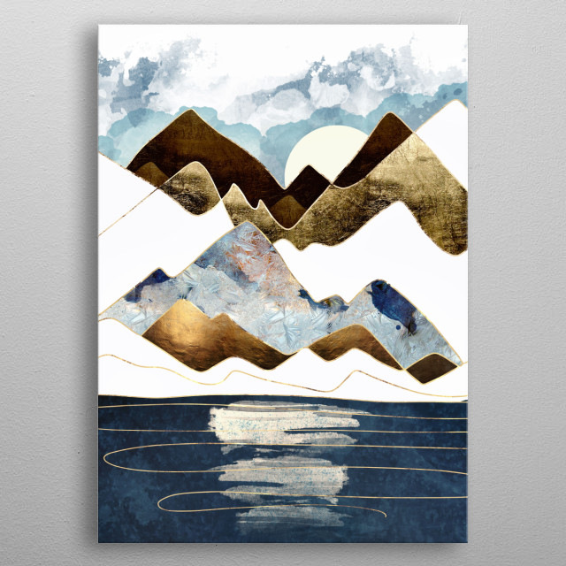 Minimal abstract landscape with mountains, water, blue and gold metal poster