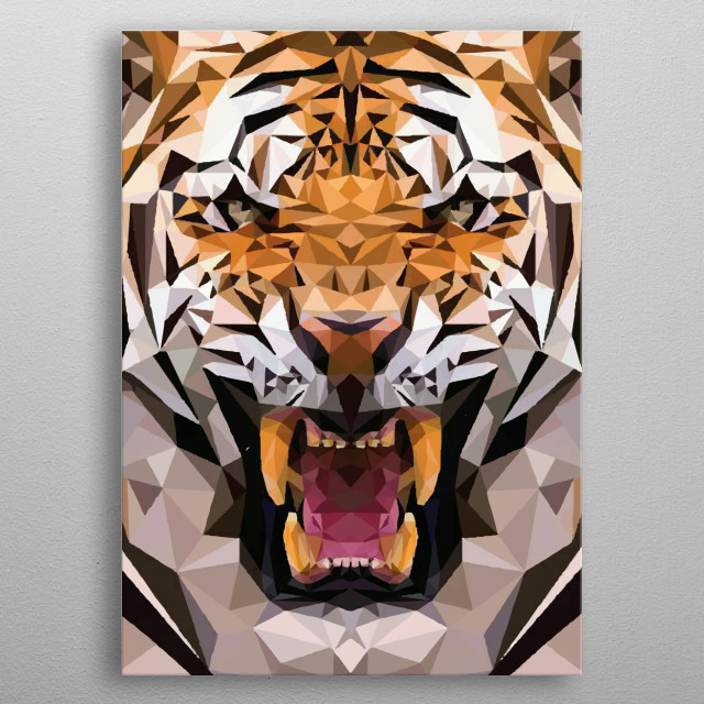 Isometric Tiger Lion geometric  metal poster