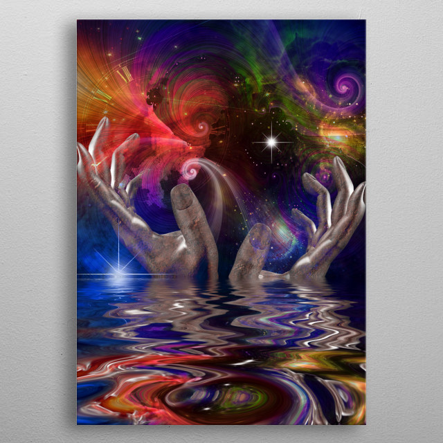 Hands, space and mystic water metal poster