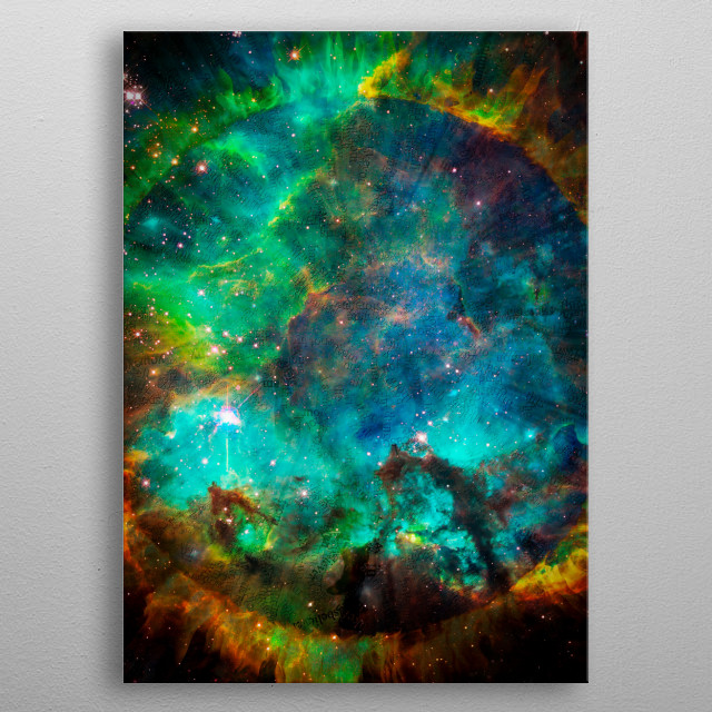 Words of the Universe. Circle of fire in endless space. Modern digital art metal poster