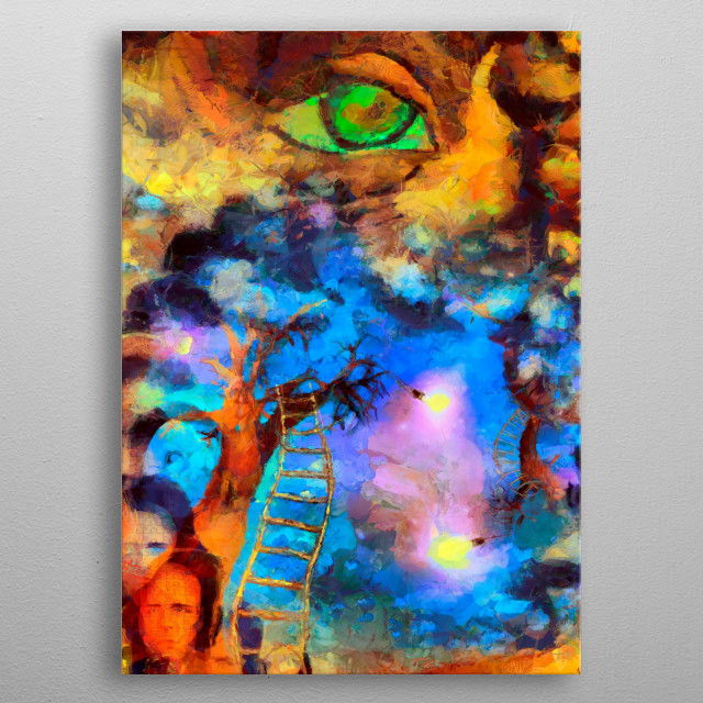 Complex surreal painting. Green eye, fire and colorful overlapping layers metal poster