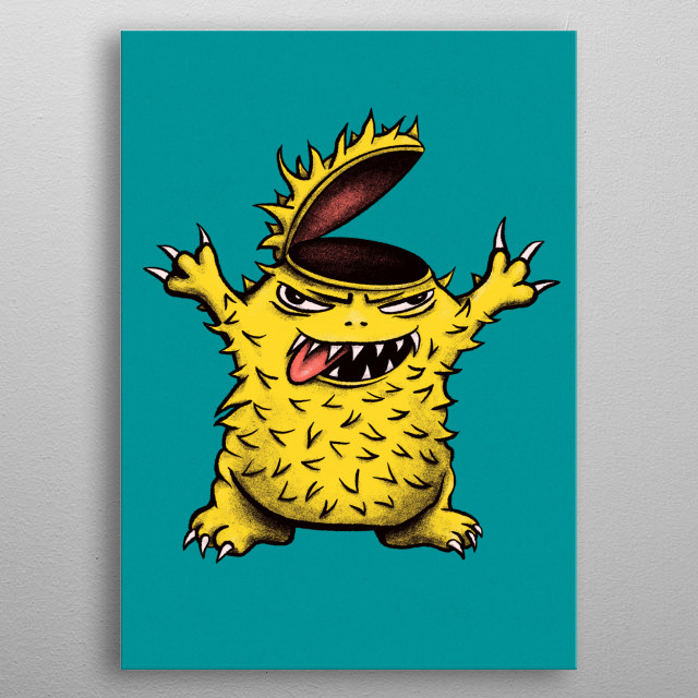 Crazy chicken monster character illustration drawn in digital ink in yellow and blue green colors. metal poster