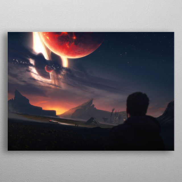 Planets in the orbit of a Black Hole in a galaxy far away. metal poster