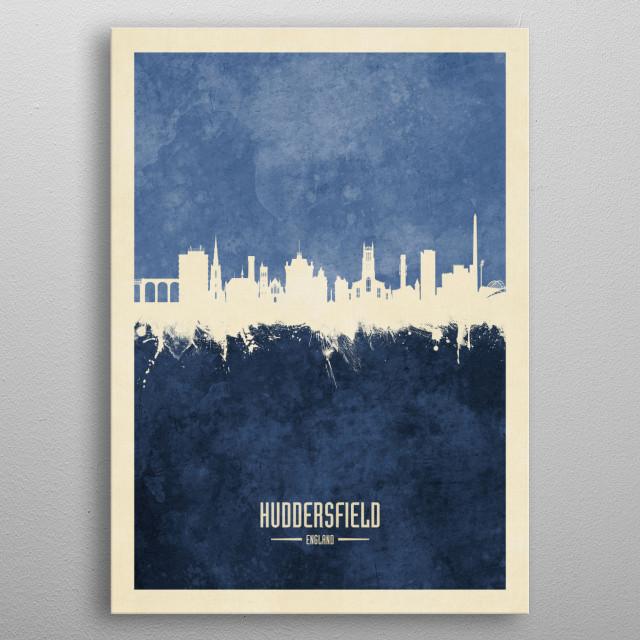 Watercolor art print of the skyline of Huddersfield, England metal poster