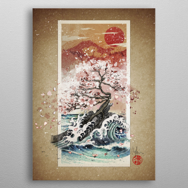 The cherry tree and the waves metal poster