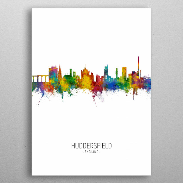 Watercolor art print of the skyline of Huddersfield, England metal poster