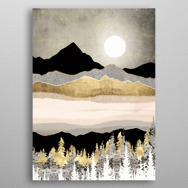 Abstract landscape with a winter moon, trees, mountains and gold metal poster
