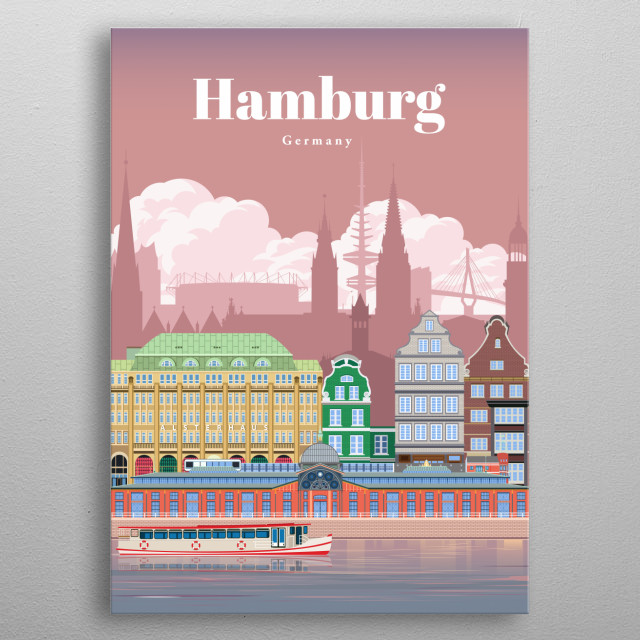 Digital art of Hamburg's city skyline and architecture of its riverfront during dusk and the sunset. metal poster