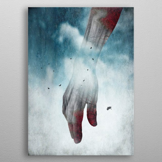 Double exposure of a forearm and a winter forest landscape - surreal photo manipulation metal poster