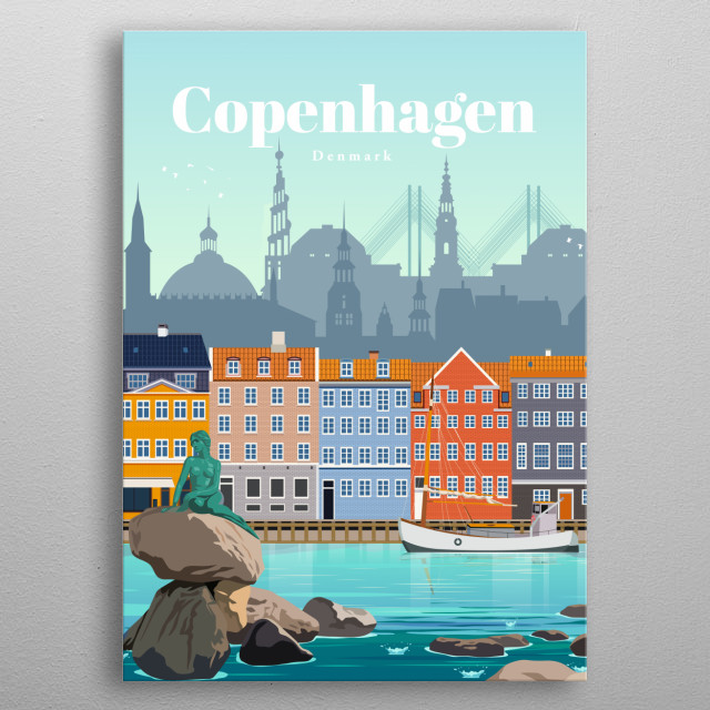 Digital illustration of Copenhagen's city skyline and architecture of Nyhavn - the famous waterfront along with the infamous mermaid statue. metal poster
