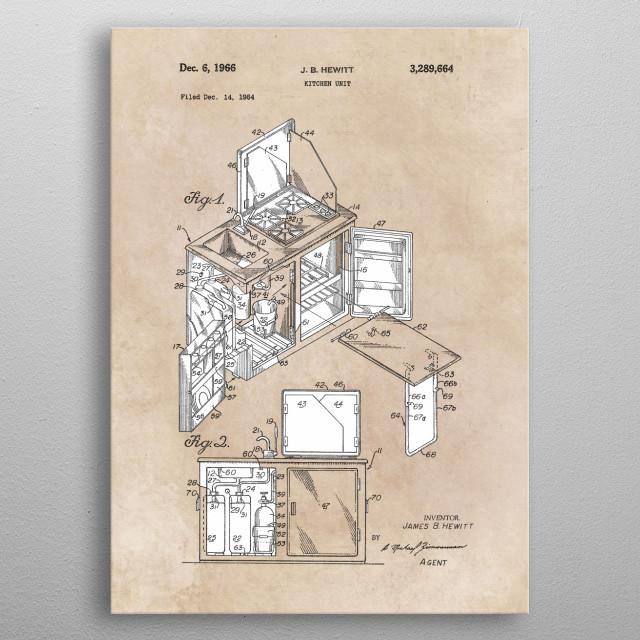 patent Hewitt Kitchen unit 1964 metal poster