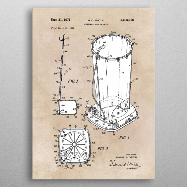 patent Veech Portable shower bath 1970  metal poster