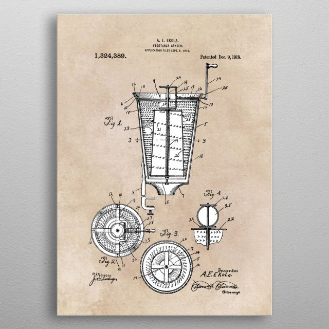 patent Ekola Vegetable grater 1918 metal poster