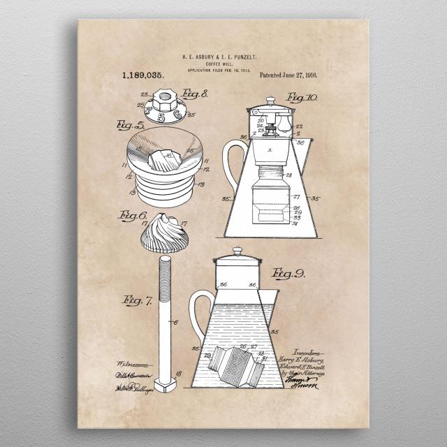 patent Asbury Punzelt Coffee mill 1915 metal poster
