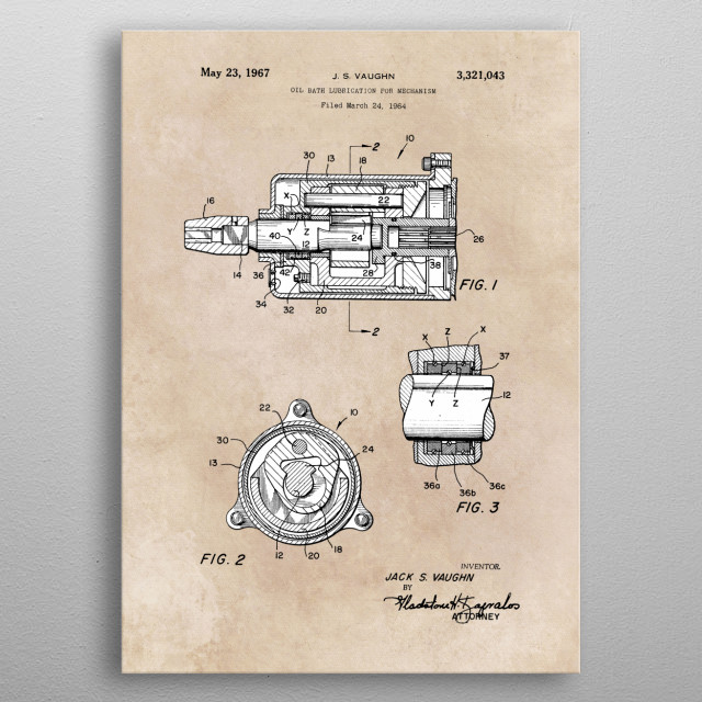 patent Vaughn Oil bath lubrication for mechanism 1964 metal poster