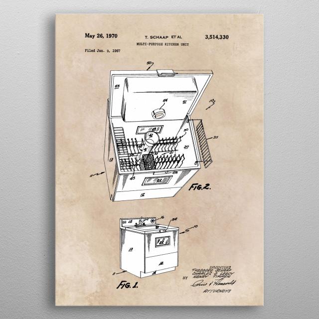 patent Schaap Multi purpose kitchen unit 1967 metal poster