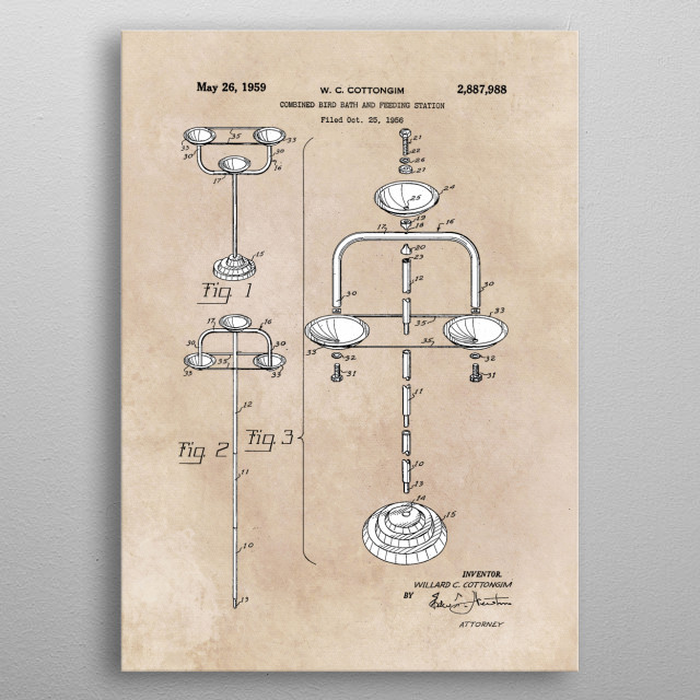 patent Cottongim Combined bird bath and feeding station 1959 metal poster
