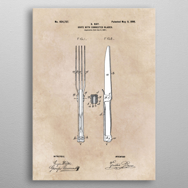 patent Bay Knife with connected blades 1897 metal poster
