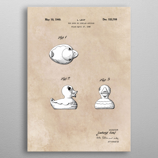 patent Leaf Toy duck similar article 1948 metal poster