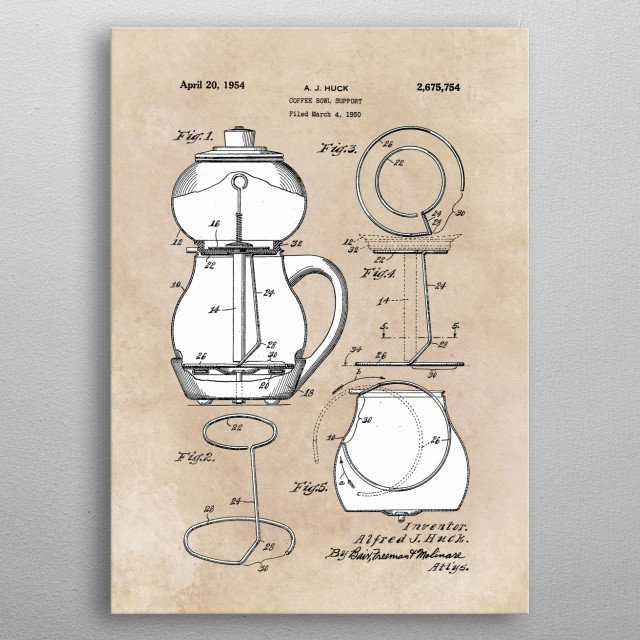 patent Huck Coffee bowl support 1950 metal poster