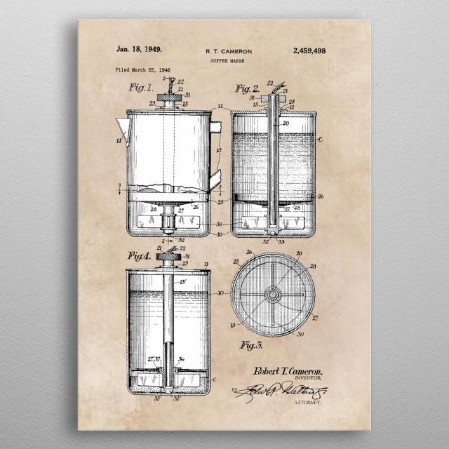 patent Cameron Coffee maker 1946 metal poster