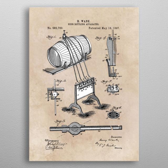 patent Wank Beer bottling apparatus 1897 metal poster