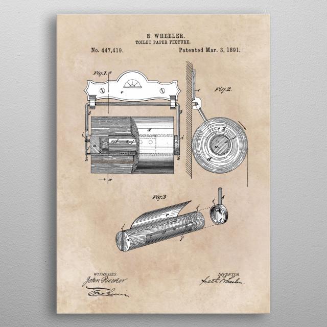 patent Wheeler Toilet paper fixture 1891 metal poster