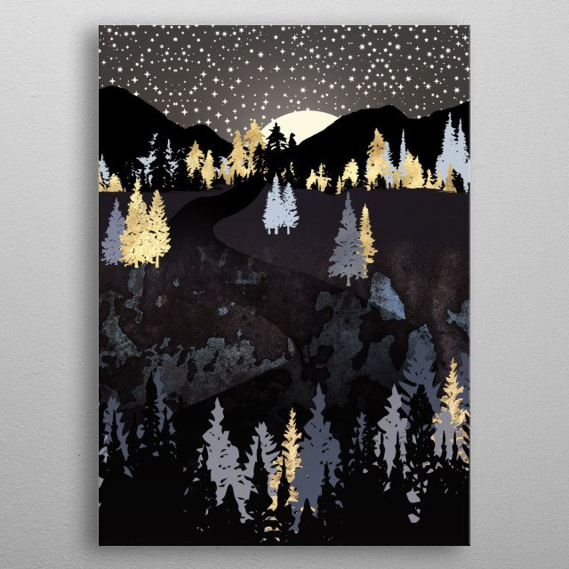 Abstract landscape of an evening sky with stars, mountains, trees and gold metal poster