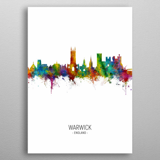 Watercolor art print of the skyline of Warwick, England metal poster