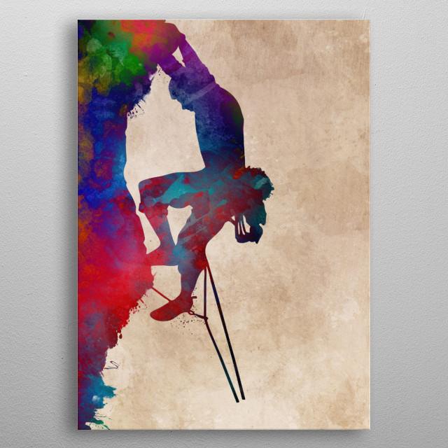 mountaineer climbing sport art #mountaineer #climbing #sport metal poster