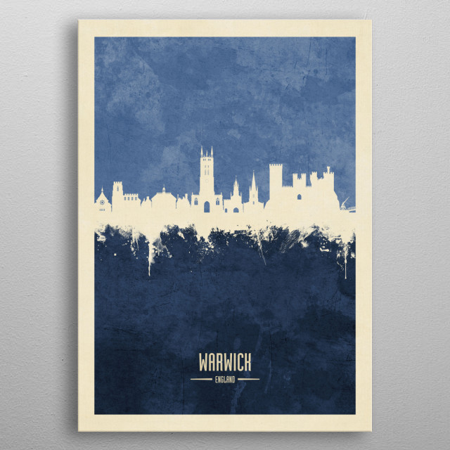 Watercolor art print of the skyline of Warwick, England metal poster