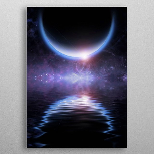 Waters reflection and Dark Planet. Sci fi art metal poster