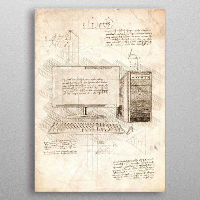 Sketch of a Desktop PC (Personal Computer) metal poster