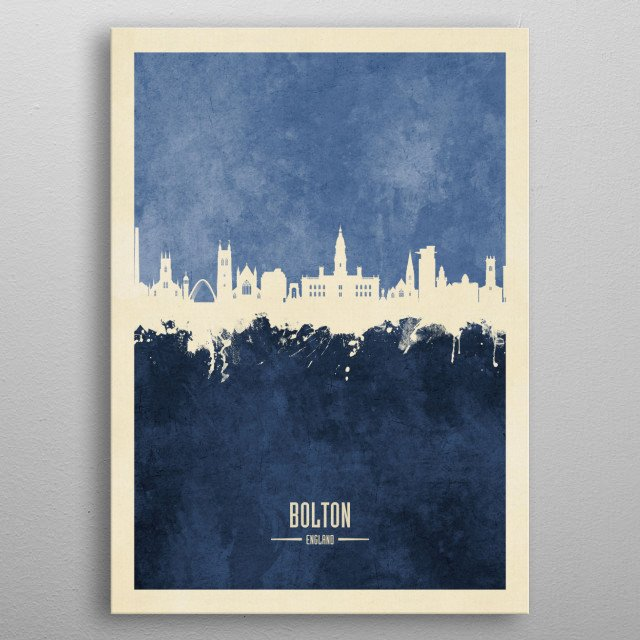 Watercolor art print of the skyline of Bolton, England metal poster