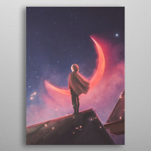 An illustration of a boy looking beyond his town from the top of his room while the red moon shines brightly. metal poster