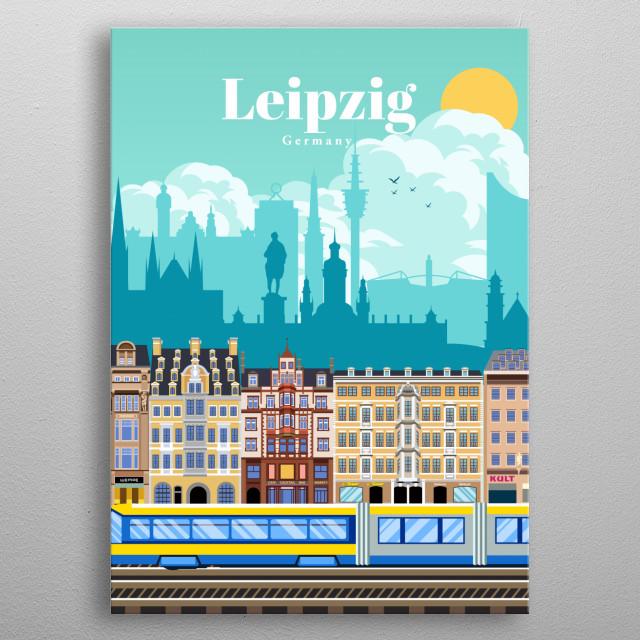 Digital illustration of Leipzig's city skyline and street architecture of Katharinenstrasse, Petersstrasse & Grimmaische. German travel art metal poster