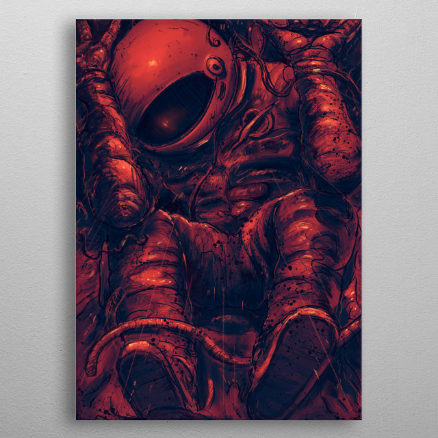 Astronaut struggle trapped inside a little space. metal poster