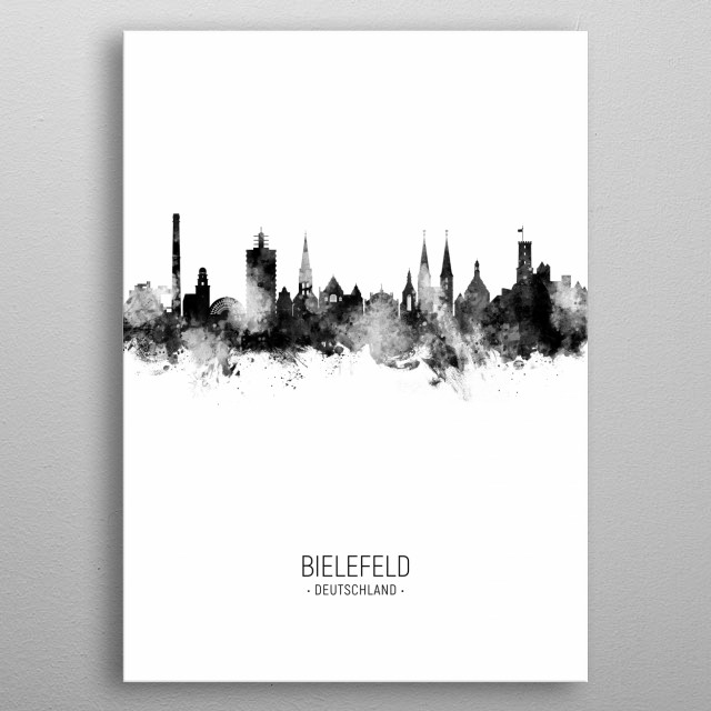 Watercolor art print of the skyline of Bielefeld, Germany metal poster