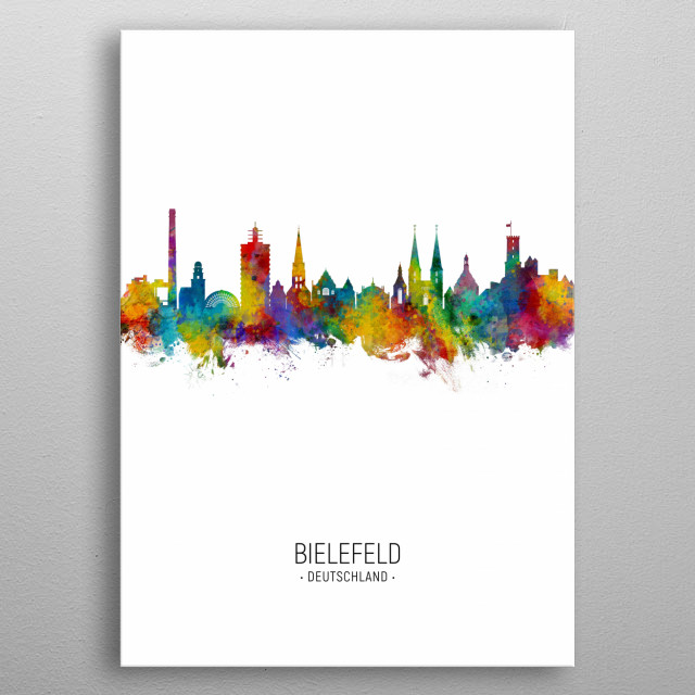 Watercolor art print of the skyline of Bielefeld, Germany metal poster