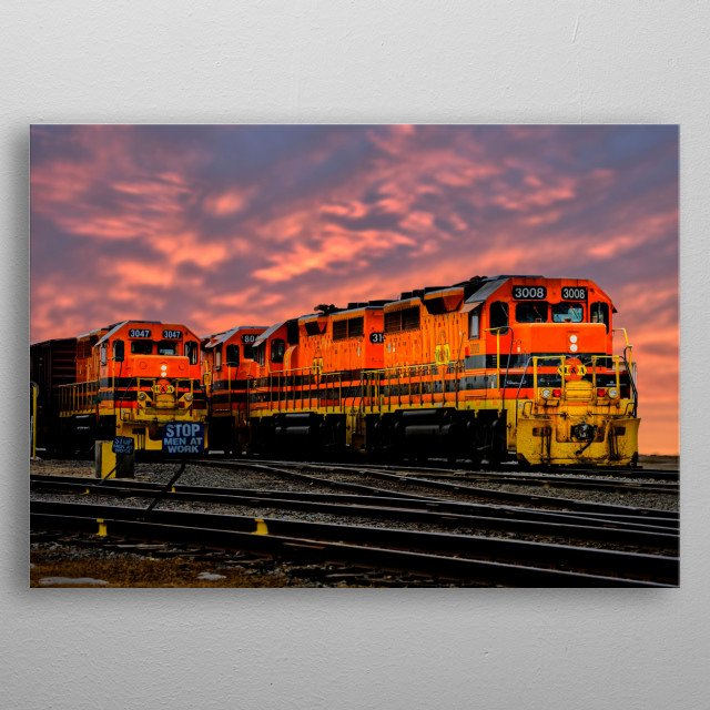 Two big diesel train locomotive engine moving side bt side down the tracks. Photography by Bob Orsillo metal poster