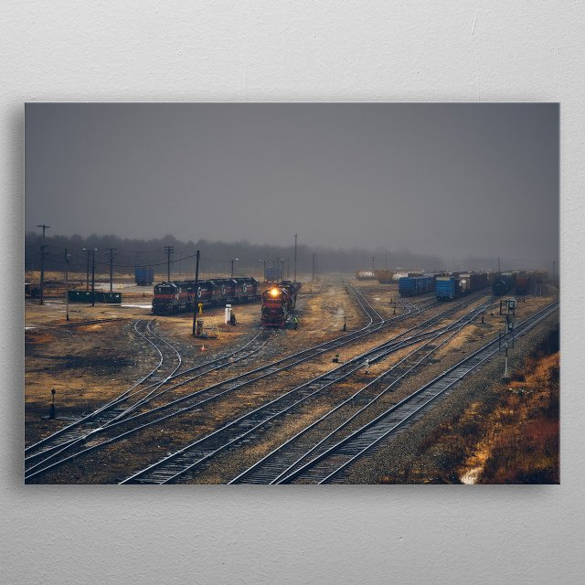 Tracks converge and a number of diesel powered freight cargo trains  move around in the fog. Photography by Bob Orsillo metal poster