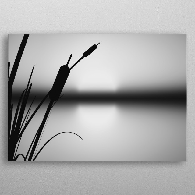 Minimalist black and white landscape illustration by Bob Orsillo. Peaceful sunset behind the marsh grass metal poster