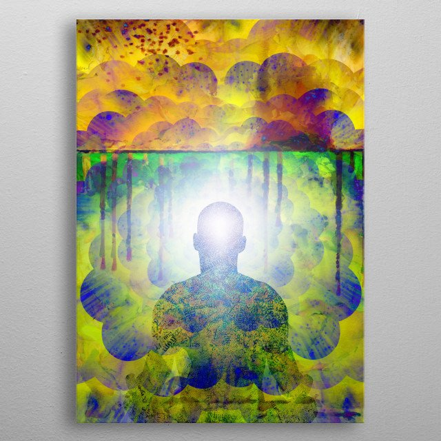 Man in lotus position sits before endless spaces. Meditation metal poster
