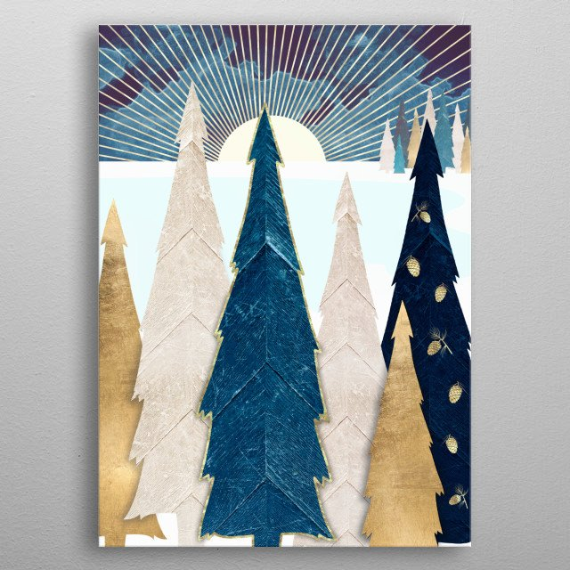 Abstract landscape of winter trees with blue, gold and pinecones metal poster